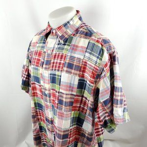 Brooks Brothers Mens Button Front Shirt XL Madras